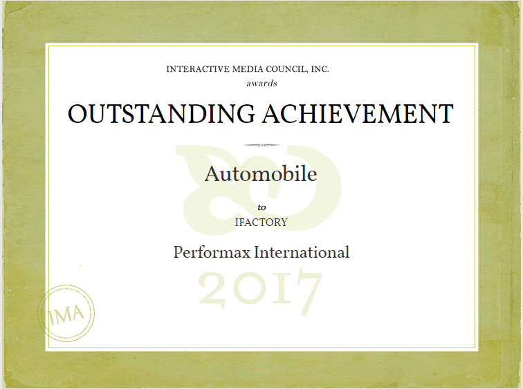 iFactory Wins Outstanding Achievement for Performax International